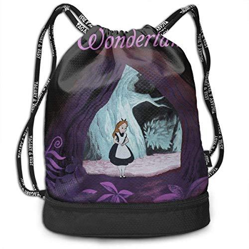 Mochila con cordón Alice im Wunderland Hübsche Kordelzug Rucksack Tasche Mehrzweck Bundle Sack Pack Tanztasche