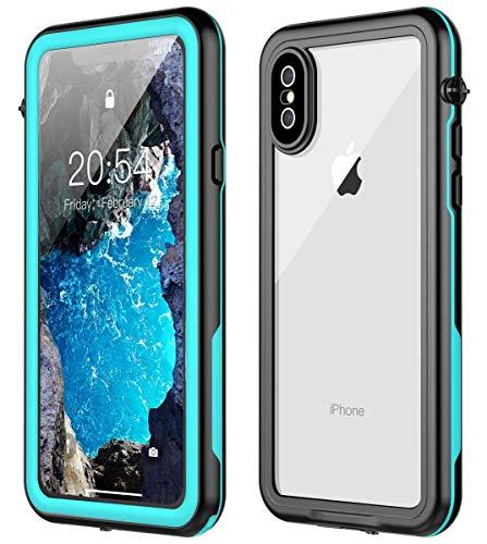 Nineasy iPhone X Waterproof Case iPhone Xs Waterproof Case, iPhone X Case Full Body Protection Underwater Cover IP68 Dustproof Snowproof Shockproof Waterproof Case for iPhone X/Xs(Blue/Clear)
