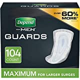 Depend Incontinence Guards/Bladder Control Pads for Men, Maximum Absorbency, 104 Count (2 Packs of 52) (Packaging May Vary)