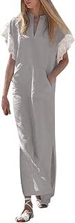 Women Plus Size Cotton Line Lace Short Sleeve V Neck Side Slit Casual Pocket Oversize Long Kaftan Dress