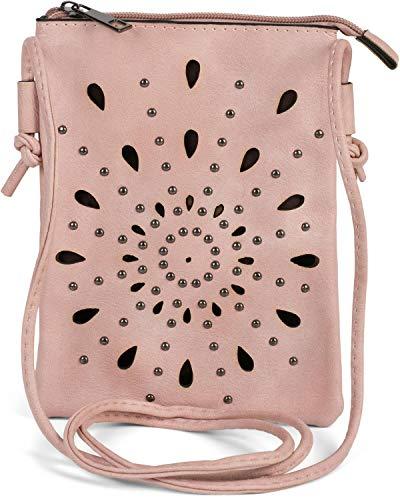 styleBREAKER Damen Mini Bag Umhängetasche mit Cutouts in Ethno Blumen Form und Nieten, Schultertasche, Handtasche, Tasche 02012304, Farbe:Rose