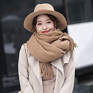 Winter Long Scarf Scarf Ladies Winter Thick Long Section Double-Sided Wild Solid Color Shawl Dual-use Winter bib (Color : Navy) Winter Soft Scarf (Color : Khaki)