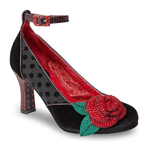Senorita Chaussures en velours à bout rond avec motif feuilles et talons carrés pour femme - - noir/rouge, 42 EU
