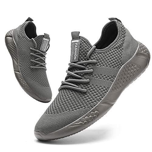 BUBUDENG Zapatillas de Deporte Hombres Running Zapatos para Correr Gimnasio Sneakers Deportivas Padel Transpirables Casual Montaña Gris EU46