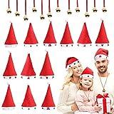 Belle Vous Gorro Navidad Papá Noel (12 Piezas) y Collar con Cascabel (12 Piezas) - Gorro Santa Claus Talla Única con 6 Estilos de Visera - Gorro para Disfraz Navidad Adulto, Niños – Fiesta Navidad
