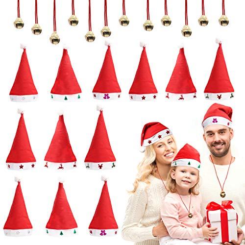 BELLE VOUS Cappello Babbo Natale (12pz) e Campanellini Natale (12pz) - Cappelli Natale Taglia Unica, 6 Design Bordi Testa - Cappello Babbo Natale Bambino e Adulto - Accessori Natalizi da Indossare