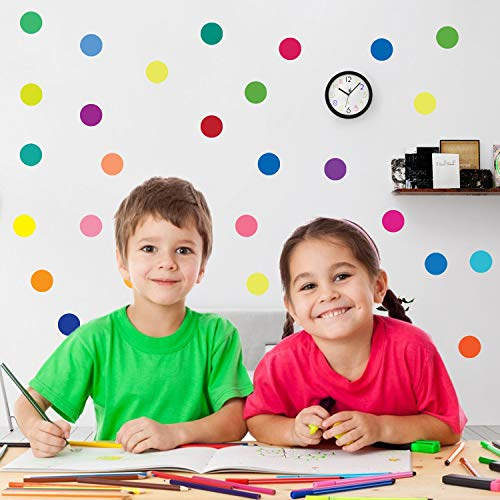 PARLAIM 60pcs Rainbow Multi Color Polka Dot Wall Decals, Kids Baby Wall Stickers for Boys & Girls Living Room, Bedroom Multicolor (2 Inch )