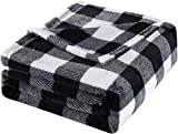 Bobor Buffalo Plaid Throw Blanket for Couch Bed, Christmas Flannel Fleece Red Black Checker Plaid Decorative Throw, Fuzzy, Fluffy, Plush, Soft, Cozy, Warm Blankets