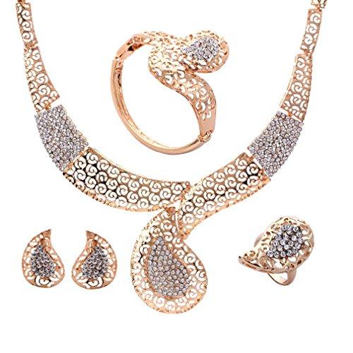 Yazilind Gold überzogene Schmucksachen Wassertropfen Halskette Ohrring Armband Finger Ring 4 Stück Schmuck Sets