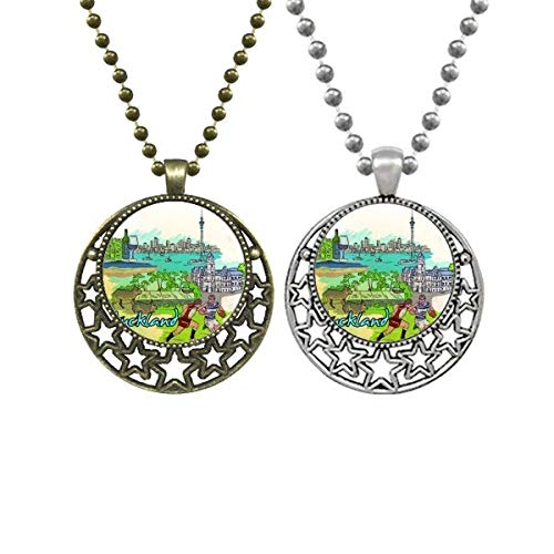 City Football Red Wine Auckland Lovers Necklaces Pendant Retro Moon Stars Jewelry