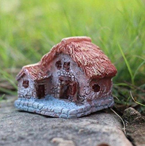 Kanggest Micro Landschaft Holzhaus Deko Miniatur Harz für Puppenhaus Puppenhausmöbel Gartenmöbel Deko Garten DIY Garten dekoration