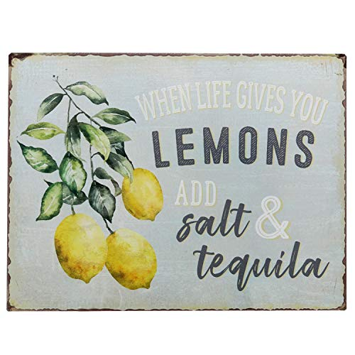 "Barnyard Designs When Life Gives You Lemons Add Salt & Tequila Funny Retro Vintage Tin Bar Sign Country Home Decor 13"" x…"