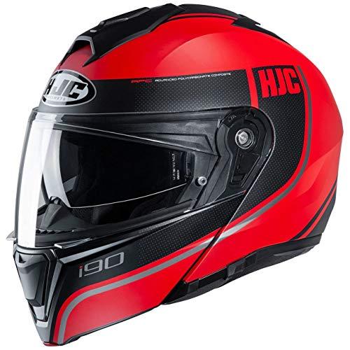 HJC Helmets Motorradhelm HJC i90 DAVAN MC1SF, Schwarz/Rot, M