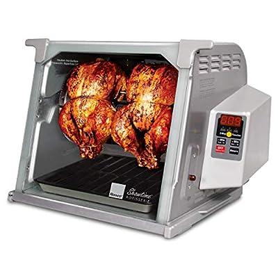 Ronco Showtime Large Capacity Rotisserie & BBQ Oven Platinum Edition, Digital Controls, Perfect Preset Rotation Speed, Self-Basting, Auto Shutoff, Includes Multipurpose Basket