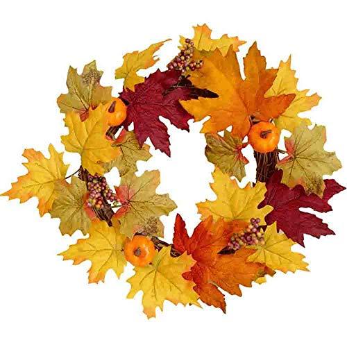 Covok krans met esdoornbladeren, kerstkrans, Halloween Thanksgiving Home Dinner Party Decor, Decoratie deurkrans KüRbis esdoornblad bessen, 30 cm 30cm oranje