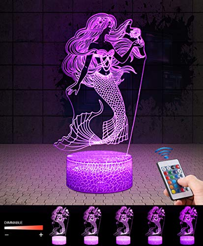 QiLiTd 3D Mermaid Gifts Toys Decor LED Night Light with Remote Control, 16 RGB Colours Bedside Lamp, Smart Touch Adjust Brightness, Birthday Present Decoration for Baby Boy Girl Kids Women Men