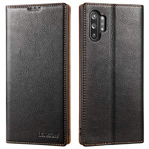 LENSUN Echtleder Hülle für Samsung Galaxy Note 10 Plus, Leder Handyhülle Magnetverschluss Kartenfach Handytasche kompatibel mit Samsung Galaxy Note 10+(6,8 Zoll) – Schwarz(N10P-BK-DC)