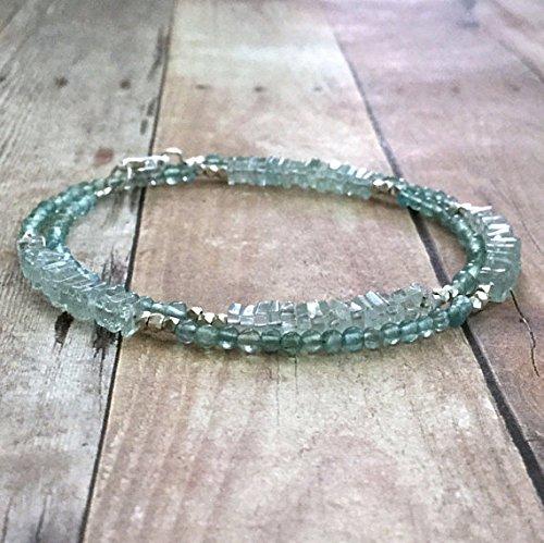 Auténtica pulsera de aguamarina de plata de ley, joyería de piedras preciosas, pulsera doble de plata de las tribus colinas, pulsera de cuentas azul y verde de 4 a 5 mm 6.5 pulgadas