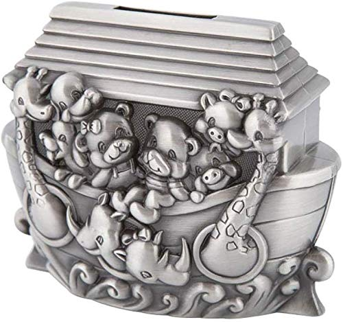 Metall-Handwerk European Creative Storage Tank Piggy Bank Cartoon Noah Ark ändern Jar Hauptdekoration Geschenk macht ein perfektes einzigartiges Geschenk (Farbe: Silber, Größe: 11.8x6.5x9.5cm) No bran