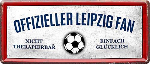 Offizieller Leipzig Fan - einfach glücklich Fußball 28 x 12 cm Blechschild 951