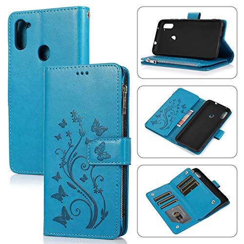 Miagon Reißverschluss Hülle für Huawei P Smart 2020,Magnet Schutzhülle Brieftasche Tasche Ständer Kartenfach Schmetterling Blume Prägung PU Leder Flip Geldbörse Cover,Blau