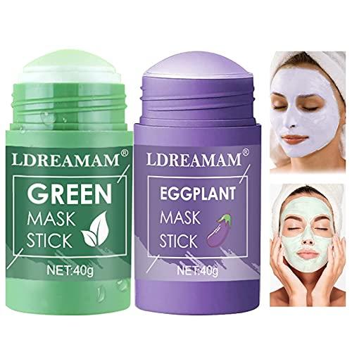 Green Mask Stick,Green Tea Cleansing Mask,Mascarilla Limpiadora Facial,Eliminación profunda de puntos negro,Purifica la piel, Mejora la sequedad de la piel(2 PACK)