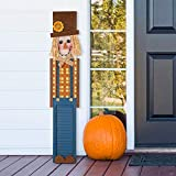 """Glitzhome 42""""H Rustic Wooden Scarecrow Porch Sign for Fall Harvest Thanksgiving Hanging Home Yard Decor Farmhouse Style"""