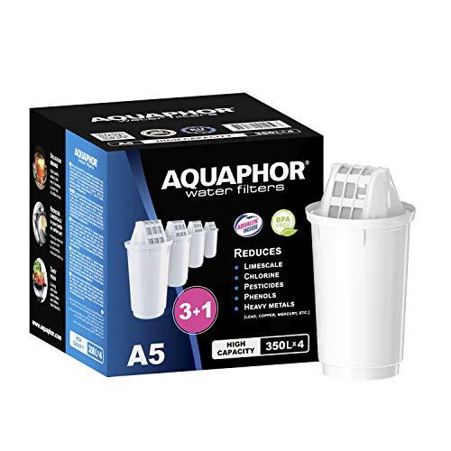 AQUAPHOR Filterkartusche A5 Pack 3+1 - mit AQUALEN Technologie, gegen Kalk, Chlor & weitere Stoffe im Leistungswasser, kompatibel mit Modellen Provence, Prestige, Smile