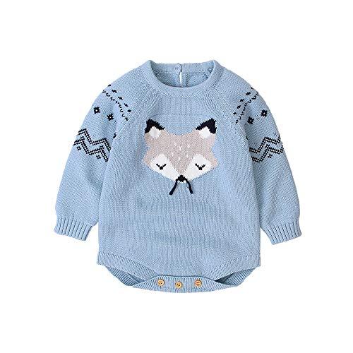 HUAGE Unisex baby uit één stuk driehoek rompertje, baby winter eendelige trui, kersttrui, cartoon patroon 0-24 maanden babykleding, met knopschakelaar, geschikt voor babyjongens/meisjes