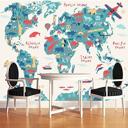 BHXIAOBAOZI Eigen 4D muurschildering groot behang, Cartoon Animal World Map, moderne Hd-zijde muurschildering Poster Foto TV Sofa achtergrond muur decoratie voor woonkamer 380cm(W)×240cm(H)|12.46×7.87 ft
