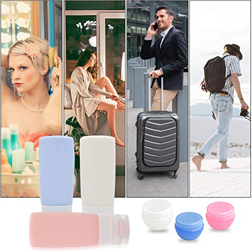 Travel Bottles,Leakproof Silicone Travel Containers,3oz TSA Approved Refillable Travel Size Toiletries Bottles for Shampoo Lotion Soap (Color B)