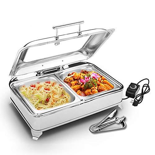 Aprilhp Chafing Dish, Servidor de Buffet, 9L Calentador de Alimentos de Acero Inoxidable, Calienta Platos Electrico Calentador Buffet - Mantenga la Comida Calientegn1/2