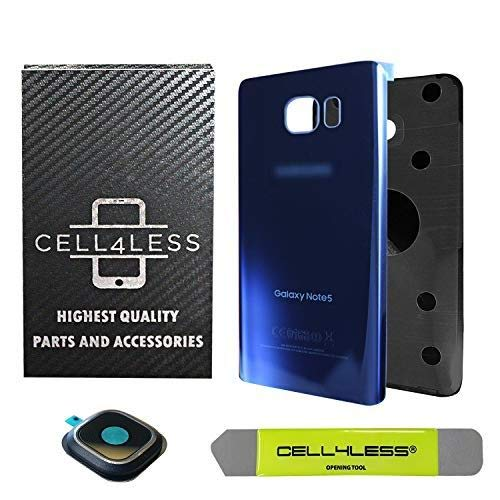 CELL4LESS Samsung Galaxy Note 5 Replacement Rear Back Glass Back Cover w/Custom Removal Tool & Camera Lens w/Frame - Adhesive - Fits N920 Models - 2 Logo (Sapphire Blue)