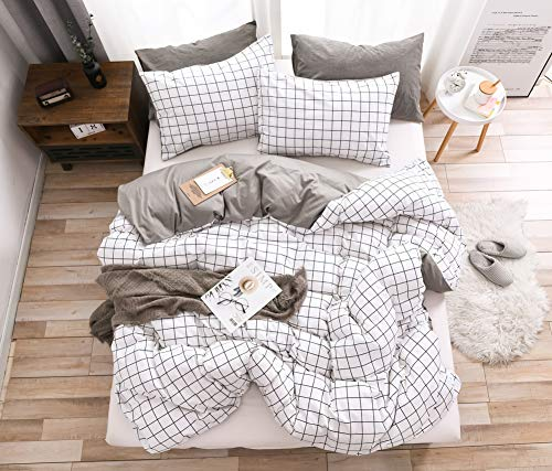Single Duvet Cover Grid White Grey Stripe 100% Cotton Soft Bedding Set Geometric Checkered Pattern for One Person Boys Girls with 1 Pillowcase 48 * 74CM