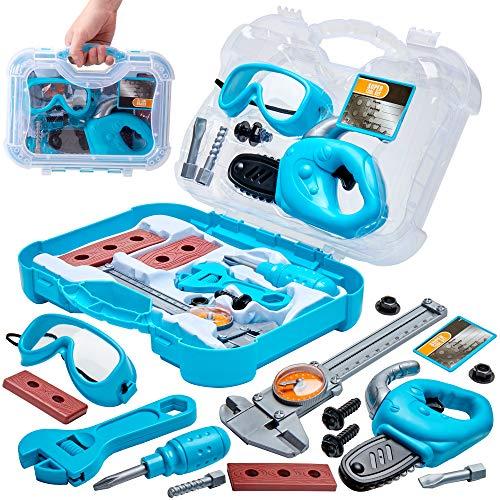 Buyger Werkzeugkoffer Werkzeugkasten Werkzeug Spielzeug Rollenspiel Handwerker Set Spiele ab 3 Jahre Kinder (Blau)