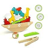 Fajiabao Juguetes de Madera para Apilado - Juegos Educativos Niños 3 4 5 años Animales Apilado Bloques Equilibrio Jenga Madera Juegos Mesa Juguetes Montessori para Niños Pequeños