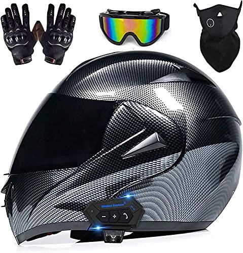 NZGMA Casco de Motocicleta con Bluetooth, Casco de Motocross de Carreras callejeras, Visera de Cara Completa Doble, Casco abatible de Moto toECEerreno Certificado por ECE para Hombres y Mujeres