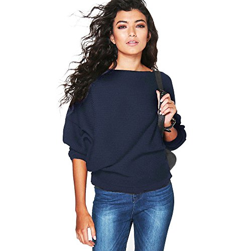 Damen Pullover Shirt Sweater Knoten Oberteile Strickpullover Tops Strickpulli Sweatshirt Winterpullover Outwear Frauen Coat Jacket Pulli Womens Bluse Kleid Strickwaren Oberteil(Marine/B,XL)