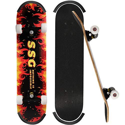 ioutdoor Skateboard Komplettboard 79x20cm Holzboard für Anfänger, Kinder und Erwachsene (Flammen)