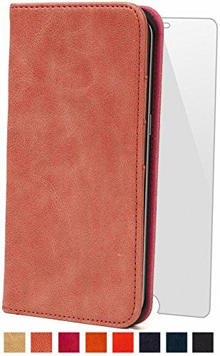 steady advance 最高級 本革 (牛革) Galaxy S7 Edge ギャラクシー S7 エッジ 用 スマホ ケース 手帳型 < 硬度 9H 強化 ガラスフィルム > セット (GalaxyS7 Edge, キャラメル)