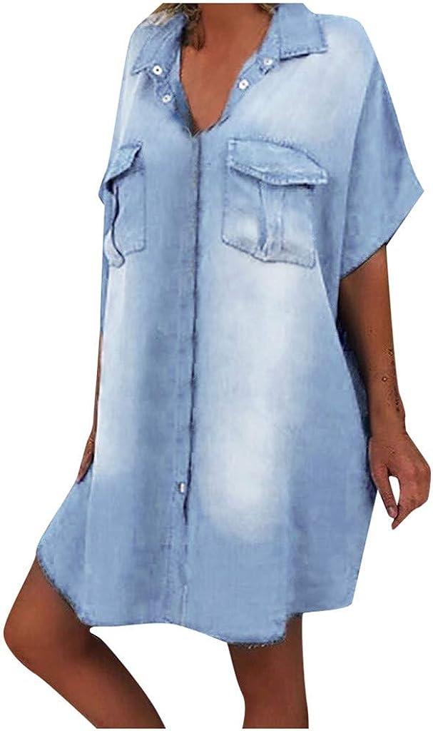 Fankle Women Denim Shirt Dresses Long Sleeve Distressed Jean Dress Button Down Casual Tunic Dresses