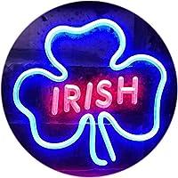 Irish Pub Shamrock Bar Club Display Dual Color LED看板 ネオンプレート サイン 標識 赤色 + 青色 300 x 210mm st6s32-i0599-rb