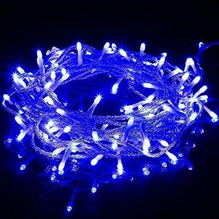 Guirnalda Luces Navidad, 10M 100 LED IP65 Impermeable Guirnalda Luces con 8 Modos, Cadena de Luces, para Fiestas, Celebraciones, Iluminación navideña para interiores y exteriores (Azul)