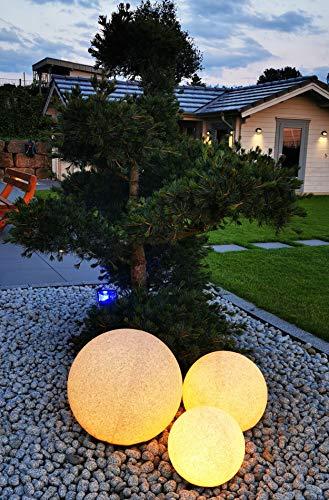 Trango 3er Set 34500G IP65 Granitstein-Optik Gartenkugel Kugelleuchte in 30/40/50cm Durchmesser mit je 5 Meter Zuleitungskabel & E27 Fassung Kugellampe, Gartenleuchte, Außenleuchte, Außenlampe