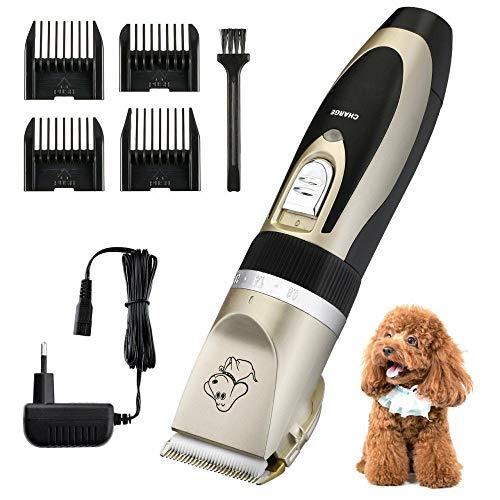 Zplyer geluidsarme draadloze elektrische tondeuse voor huisdieren, oplaadbare dierenhaartrimmer voor honden met schaarkam is een goed cadeau voor huisdieren van katten en honden