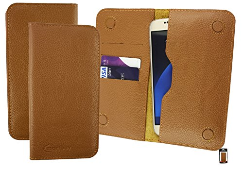 Emartbuy® Tan Echtes Kalbsleder Magnetisch Schlank Brieftasche Tasche Sleeve Halter (Größe 3XL) Geeignet Für Slok D1 Dual SIM Smartphone