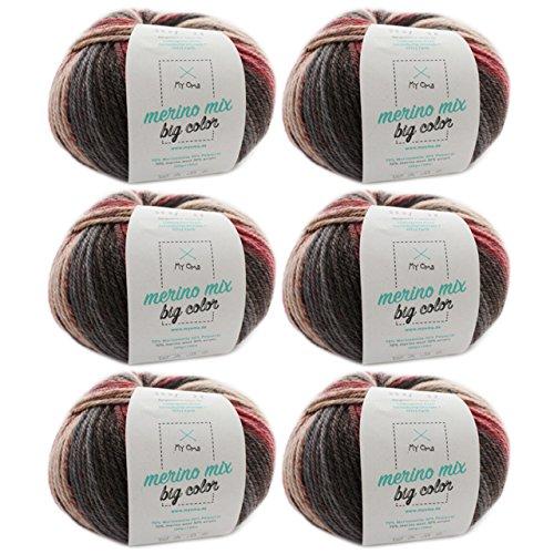 Effektgarn zum Stricken*6 Knäuel Merino Mix big Color symphony(Fb 5007)*Merino Wolle mit Farbverlauf 100g/150 m+GRATIS Label-Wolle bunt Farbverlauf Nadelstärke 6-7 mm-Merinowolle mit Farbverlauf MyOma