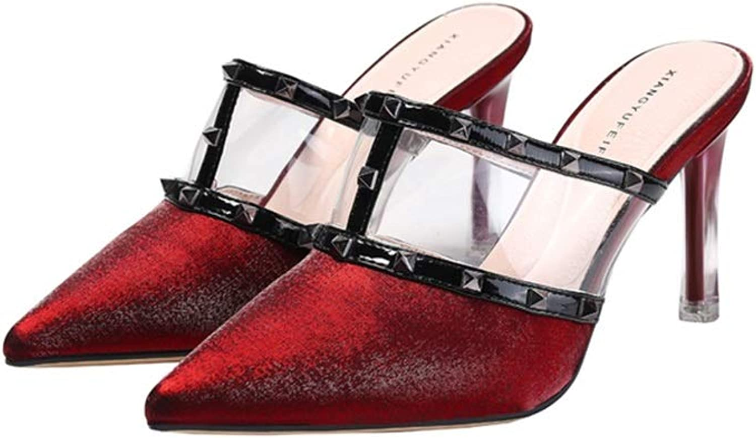 WANGFANG Sandals High-Heeled Slippers, Personality Pointed Rivets Kitten Heel Slippers Pointed shoes for Women (color   Red, Size   US6 EU37 UK4 MX3.5 CN37)