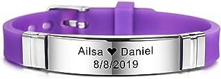 MeMeDIY Personalized Bracelet Engraving Names Silicone Sport Wrist Identification ID Tag Bracelet Customized for Men Women...