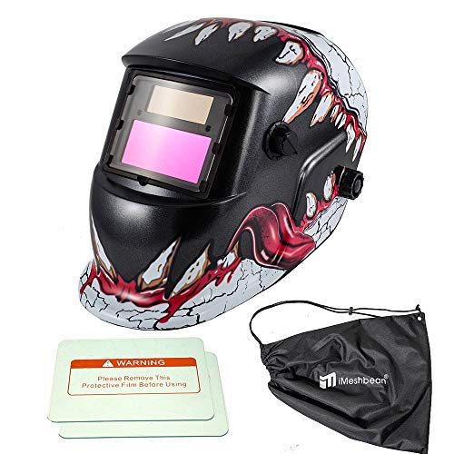iMeshbean Pro Large View Solar Auto-Darkening Welding & Grinding Helmet + Storage Bag & 2 pcs Extra Lens Covers ANSI Certified Model#1034-1 Year Warranty USA